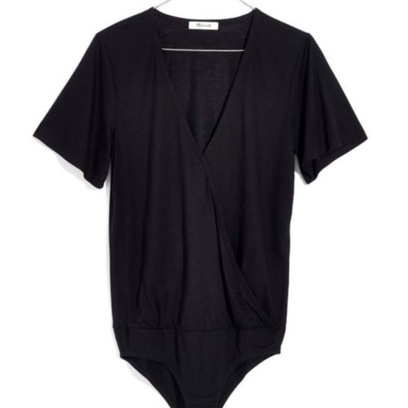 Madewell Tops - Madewell Faux Wrap Bodysuit in Black